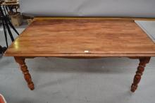 Turned leg pine kitchen table, approx 179cm x 106cm x 72cm