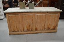 Rustic marble topped counter, approx 214cm x 73cm x 100 H