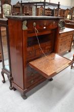 French Empire mahogany four drawer secretaire abattant, approx 143cm H x 99cm L x 43cm W