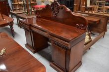 Antique mahogany twin pedestal sideboard, approx 149cm H x 183cm W x 60cm D