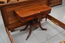Antique Regency fold over card table, approx 74cm H x 92cm L
