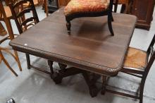 Antique French Renaissance style pedestal table, approx 70cm H x 110cm square