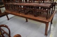 Large long French walnut leather topped board room/library table, approx 77cm H x 298cm L x 124cm D