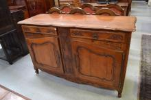 Antique French Cherrywood enfilade finely carved in relief with flowers and urns approx, 173cm L x 110cm H x 60cm W