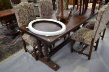 Vintage French slab top refectory table, approx 75cm H x 197cm W x 79cm D