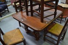 Antique French Henri II walnut Renaissance style table, approx 73cm H x 103cm square