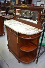 Vintage French Louis XVI style marble topped sideboard, approx 150cm H x 116cm W x 48cm D