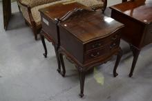 Good pair of vintage cedar two drawer bedside cabinet, approx 72cm H x 50cm L x 45cm W
