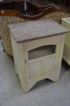 Vintage painted marble top cabinet with chicken wire door, approx 83cm H x 66cm W x 46cm D