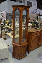 Hexagonal glazed pedestal display cabinet, approx 190cm H