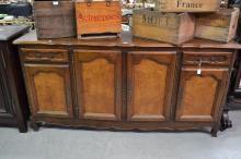 Vintage French Louis XV style four door enfilade buffet, approx 100cm H x 200cm L x 51cm D