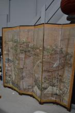 Old Chinese six fold floor screen painted with a town on a river, 214 cm H x 250cm W
