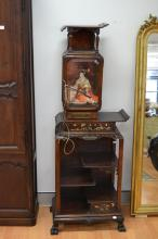 Rare Dai Nippon Fabricant A Paris, tiered shelf display cabinet, with glazed single door cupboard above, inlaid mother of pearl, and bronze mounts, label to back of base, approx 185 cm H