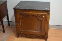 Antique French marble topped cupboard, with later interior, has key, approx 85cm H x 82cm W x 62cm D