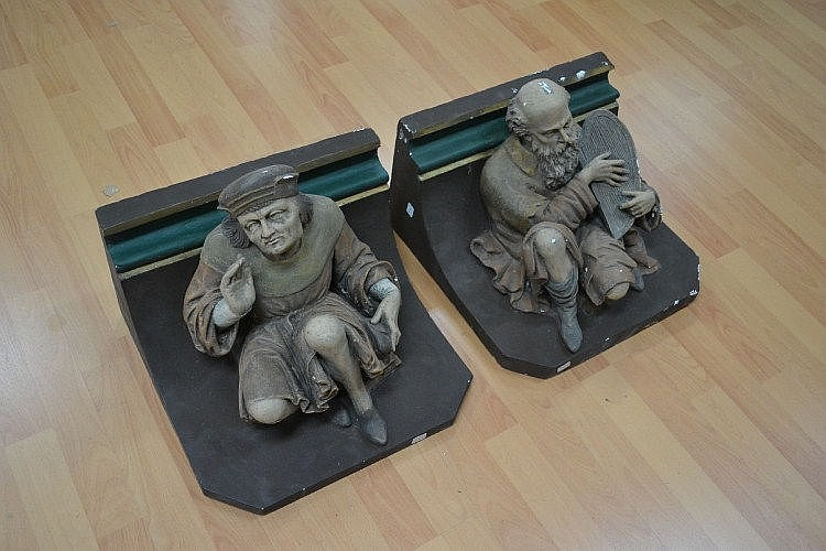 Pair of antique French cast and modelled plaster