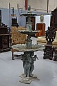 Three Tier Bronze Fountain, putti playing lutes,
