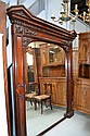 Large antique English flambe mahogany wall mirror