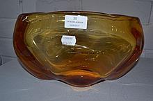 Orange art glass vase, oval shape, approx 14.5cm H