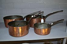 Set of four French copper saucepans (4)