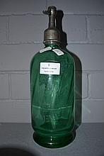 French green glass soda siphon, approx 30cm H