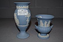 Two Wedgwood Blue Jasper vases, approx 14cm H and
