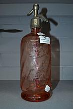French pink glass soda siphon, approx 30cm H