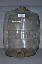 Antique cut glass spirit barrel with banded