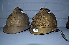 Two Antique French fireman's helmets (2)