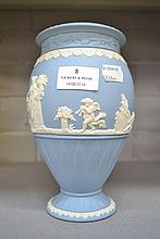 Wedgwood Blue Jasper vase, approx 20cm H