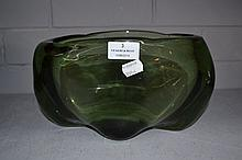 Vintage Green glass art vase, oval shape, approx
