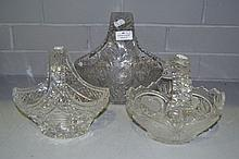 Three crystal baskets, approx 25cm H x 25cm W and