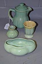 McCredie green glaze water jug, bowl and vases,