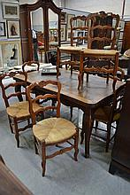 Set of eight French Louis XV style ladder back