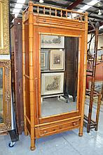Antique Bamboo single door armoire, approx 210cm H
