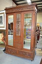 Antique French Henri II carved walnut two door