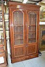 Antique French mahogany two door bookcase, approx