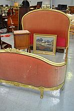 Vintage French painted frame upholstered bed,