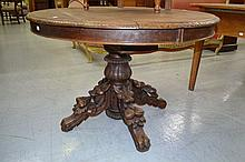 Antique French carved oak pedestal table, approx