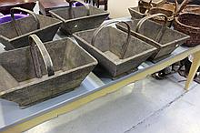 Three antique French wooden baskets, each with bentwood handles (3)