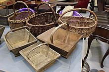 Three small size antique French wooden baskets along with three French cane baskets (6)