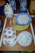 Royal Doulton plates to include Fox Hunting & others, along with a Royal Albert lidded urn Lavender Rose, approx 25cm H and 27cm dia