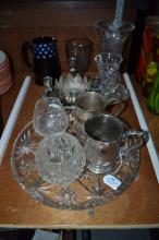 Collection to include glass tray, vase, silver plate items and antique  jug, etc, approx 23cm H and smaller