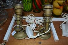 A pair of antique 'gimbal' brass ships lamps converted to electricity, each approx 18cm H (2)