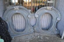 Pair of impressive antique French Zinc window portals, approx 130cm x 115cm (2)