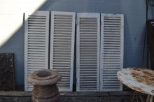 Four shutters, plantation style, white painted finish, approx 150cm x 43cm  (4)