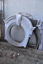 Antique French oval zinc window surround, approx 114cm H x 100cm W x 46cm D