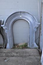 Antique French arched zinc window surround, approx 122cm H x 122cm W x 20cm D