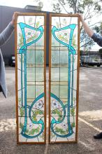 Rare pair of Emile Schwartz antique French Art Nouveau painted and coloured leadlight doors, signed to base Emile Schwartz 1909, approx 185cm H x 43cm W (2)