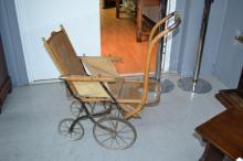 Vintage French Childs pull along carriage, flat bar frame with bentwood arms and top frame