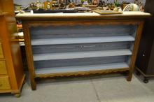 Antique early 19th century French oak dresser top, with painted interior shelves, approx 120cm H x 170cm L